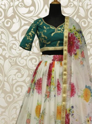 Off White Sequins Organza Lehenga Choli