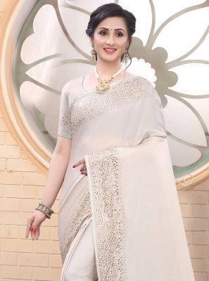 Off White Trendy Saree