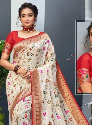 Off White Weaving Art Silk Designer Traditional Saree