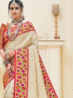 Off White Weaving Banarasi Silk Traditional Designer Saree