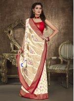 Off White Zari Designer Traditional Saree