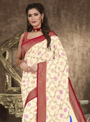 Off White Zari Designer Traditional Saree