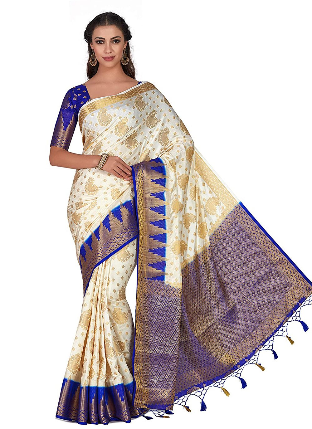 Off White Zari Silk Traditional Designer Saree