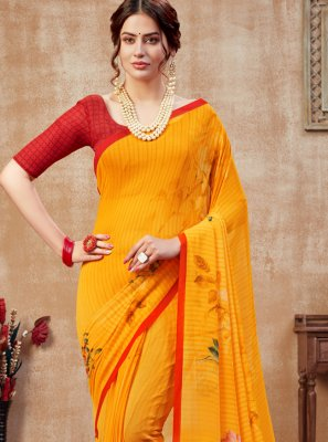 Orange Abstract Print Faux Georgette Printed Saree