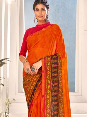 Orange Abstract Print Faux Georgette Saree