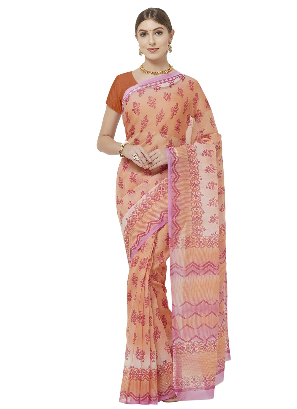 Orange Abstract Print Printed Saree