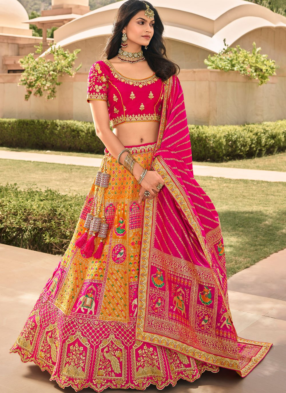 Orange and Pink Banarasi Silk Embroidered A Line Lehenga Choli