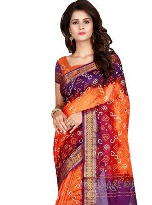 Orange and Purple Printed Art Silk Designer Traditional Saree