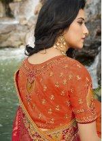 Orange and Red Banarasi Silk Sangeet Designer Half N Half Saree