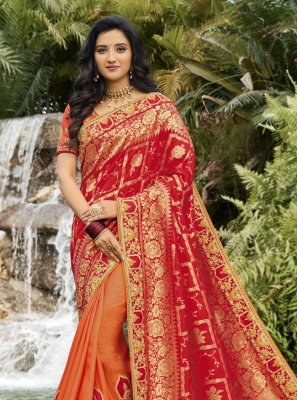 Orange and Red Banarasi Silk Sangeet Designer Half N Half Saree
