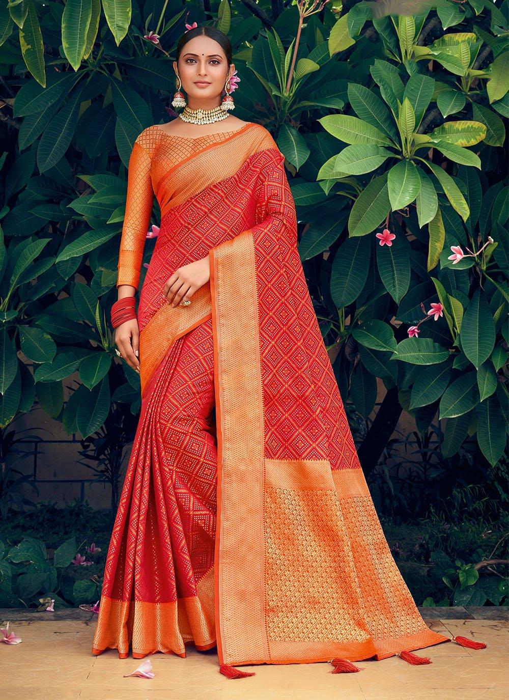 Orange and Red Ceremonial Patola Silk  Traditional Saree