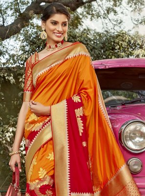 Orange and Red Weaving Banarasi Silk Traditional Designer Saree