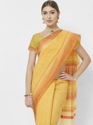Orange and Yellow Blended Cotton Abstract Print Printed Saree