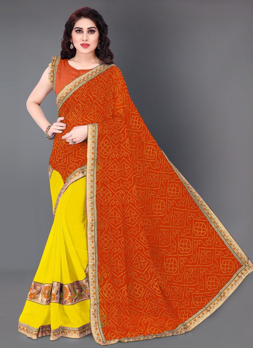Orange and Yellow Print Faux Georgette Designer Half N Half Saree