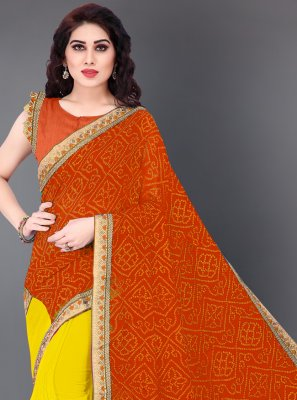 Orange and Yellow Print Faux Georgette Designer Half N Half Saree