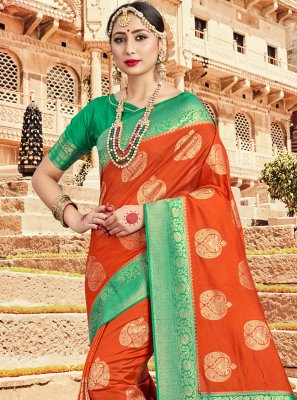 Orange Art Banarasi Silk Traditional Saree