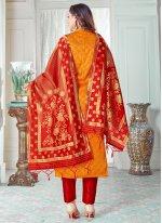 Orange Art Banarasi Silk Woven Pant Style Suit