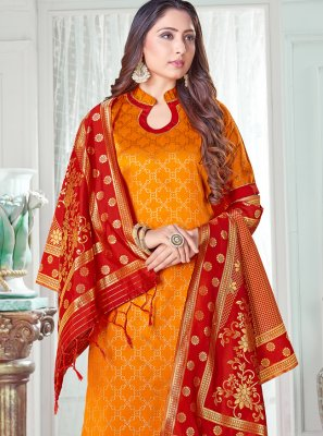 Orange Art Banarasi Silk Woven Pant Style Suit