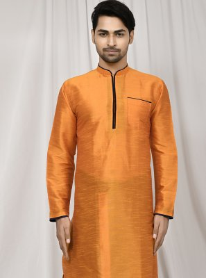 Orange Art Silk Festival Dhoti Kurta