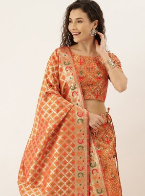 Orange Art Silk Mehndi Lehenga Choli