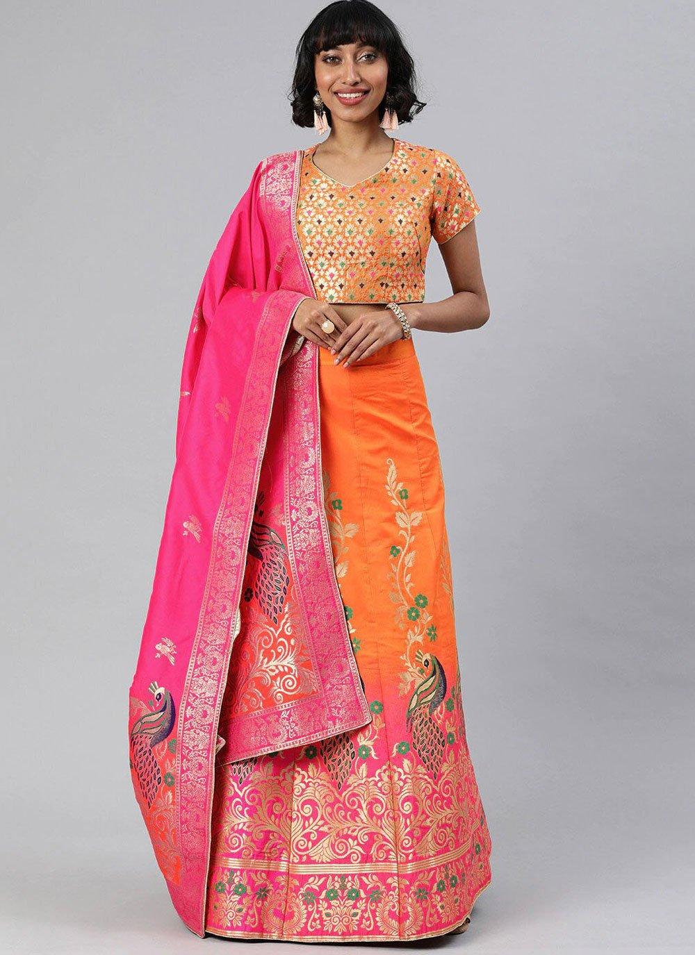 Orange Banarasi Silk A Line Lehenga Choli