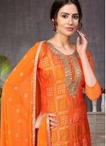Orange Banarasi Silk Ceremonial Churidar Designer Suit