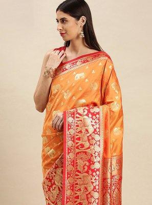 Orange Banarasi Silk Weaving Designer Traditional Saree