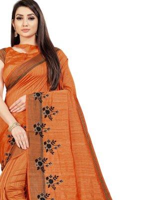 Orange Ceremonial Art Silk Classic Saree