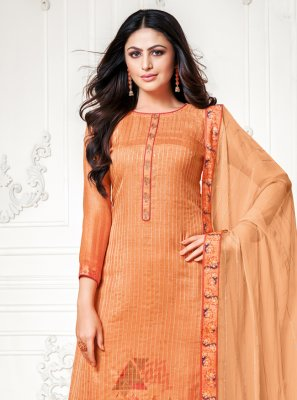 Orange Ceremonial Palazzo Designer Salwar Suit