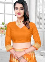 Orange Ceremonial Silk Traditional Designer Saree