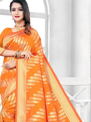 Orange Ceremonial Silk Traditional Designer Saree