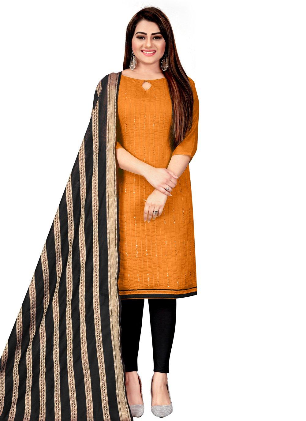 Orange Chanderi Festival Churidar Suit