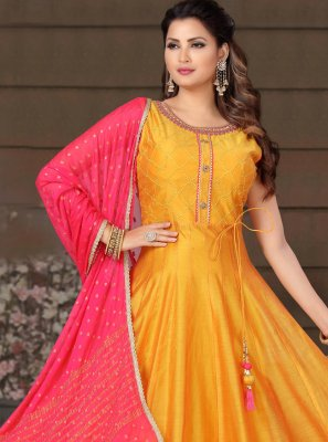 Orange Chanderi Readymade Suit