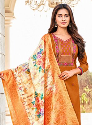 Orange Color Straight Salwar Suit