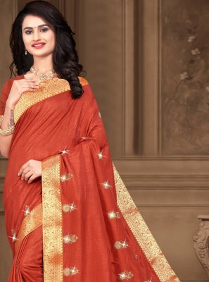 Orange Color Traditional Saree
