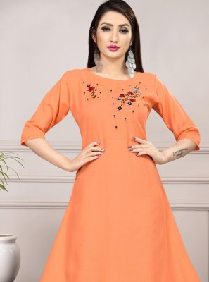 Orange Cotton Casual Kurti