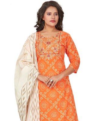Orange Cotton Designer Palazzo Suit