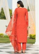 Orange Cotton Fancy Designer Suit