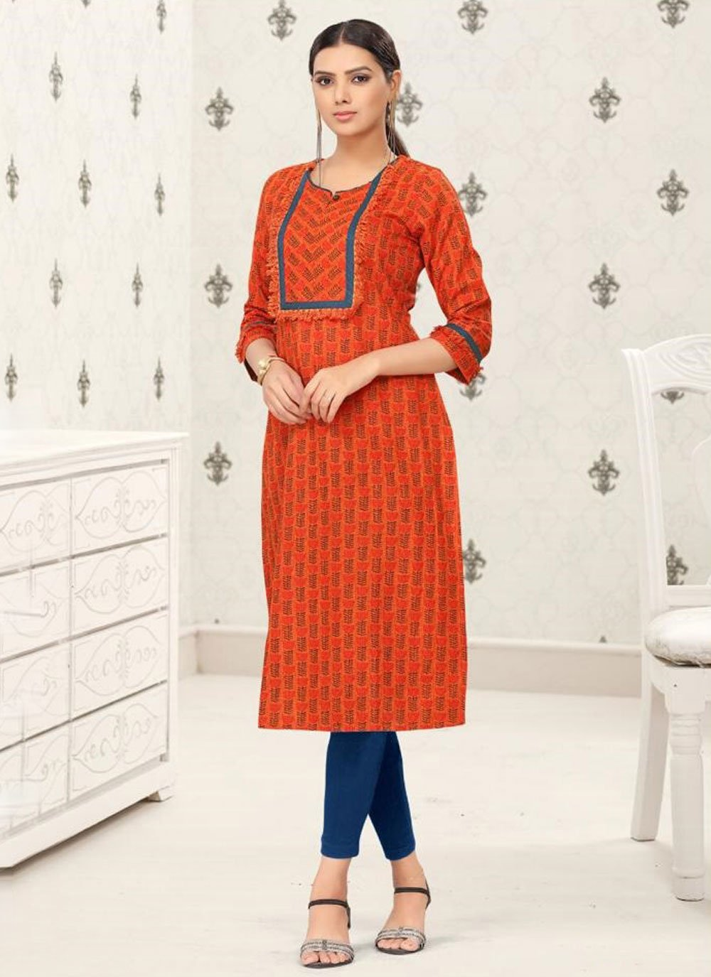 Orange Cotton Party Wear Kurti