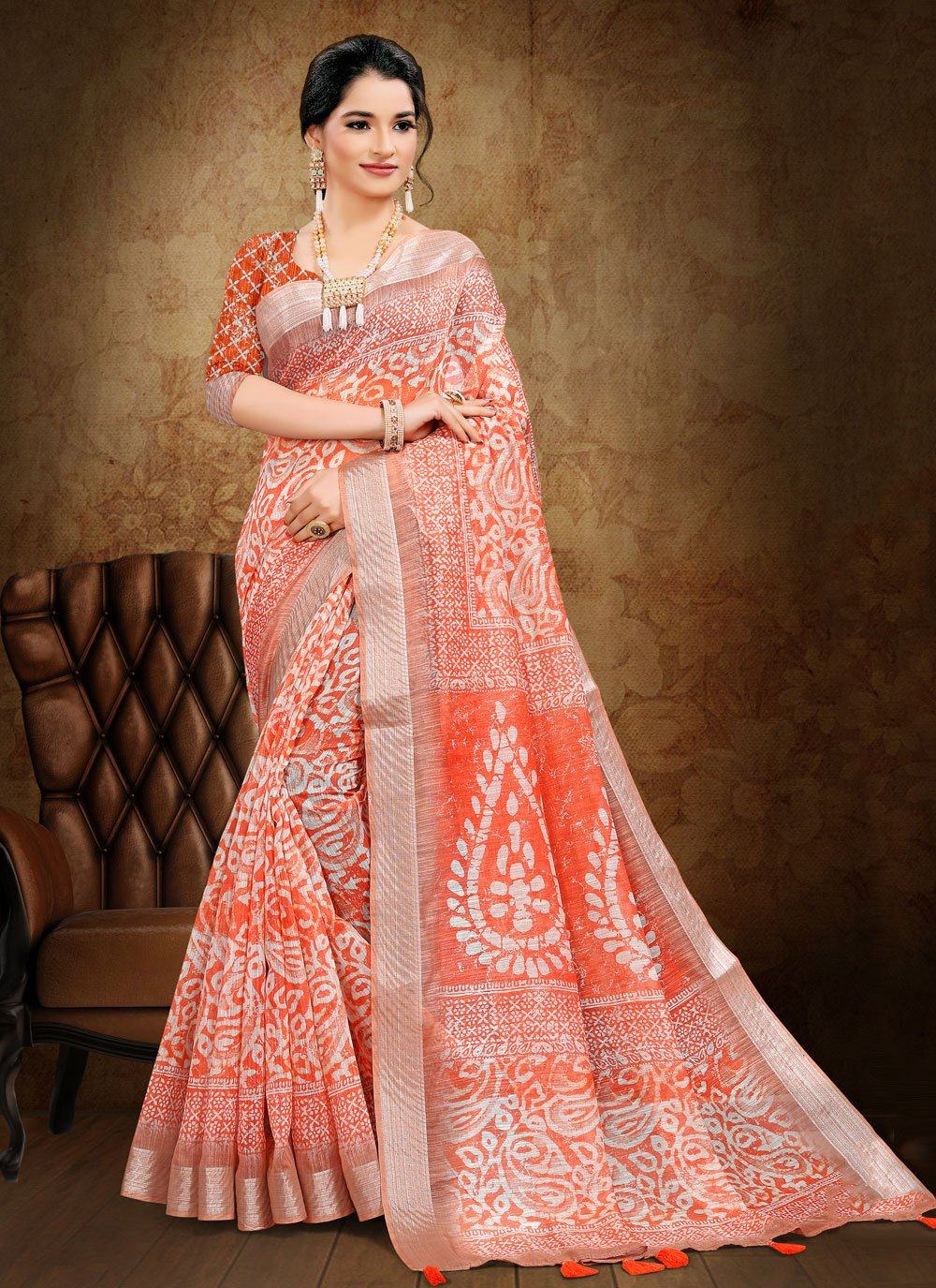 Orange Cotton Printed Saree