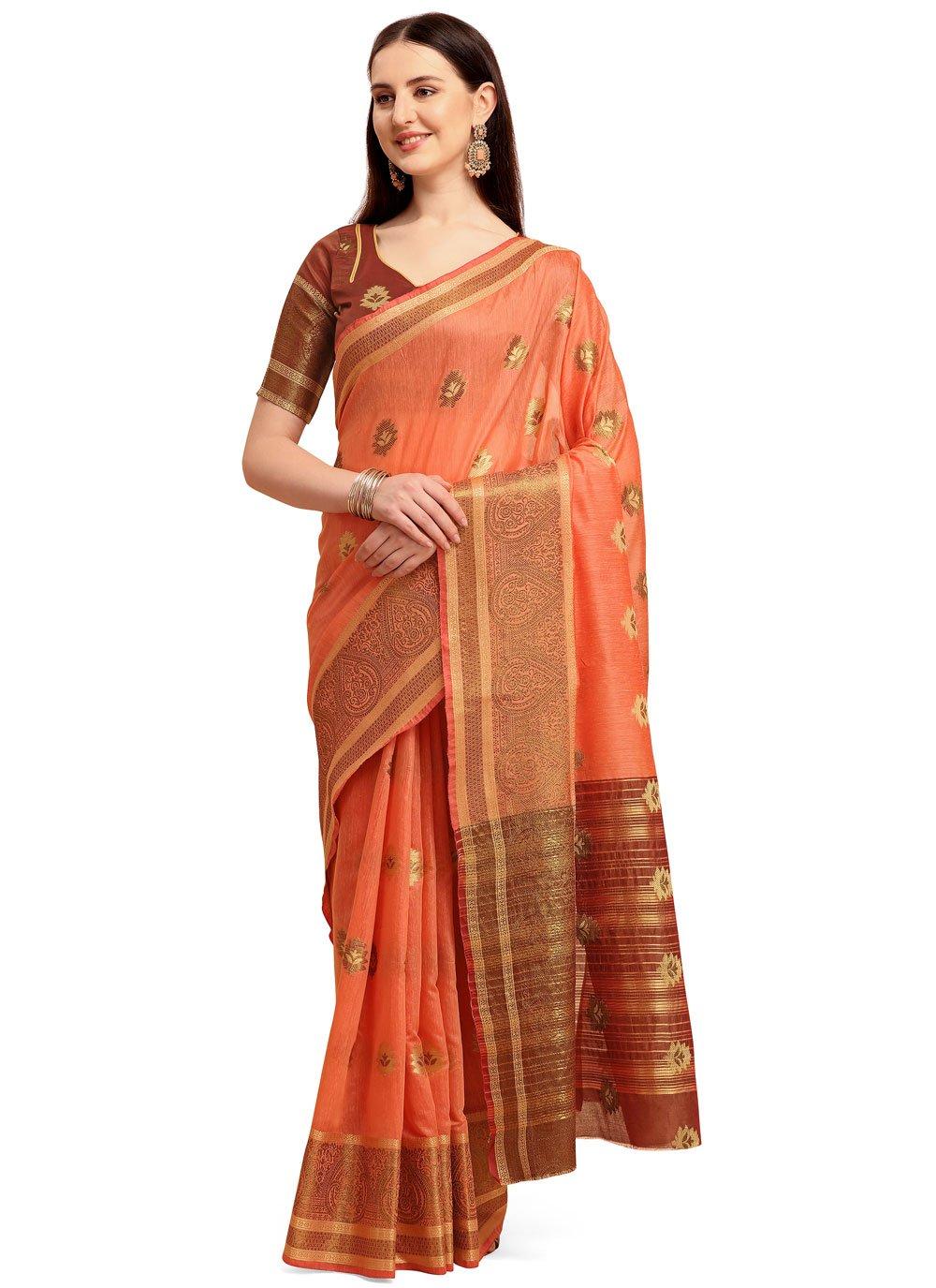 Orange Cotton Silk Classic Saree