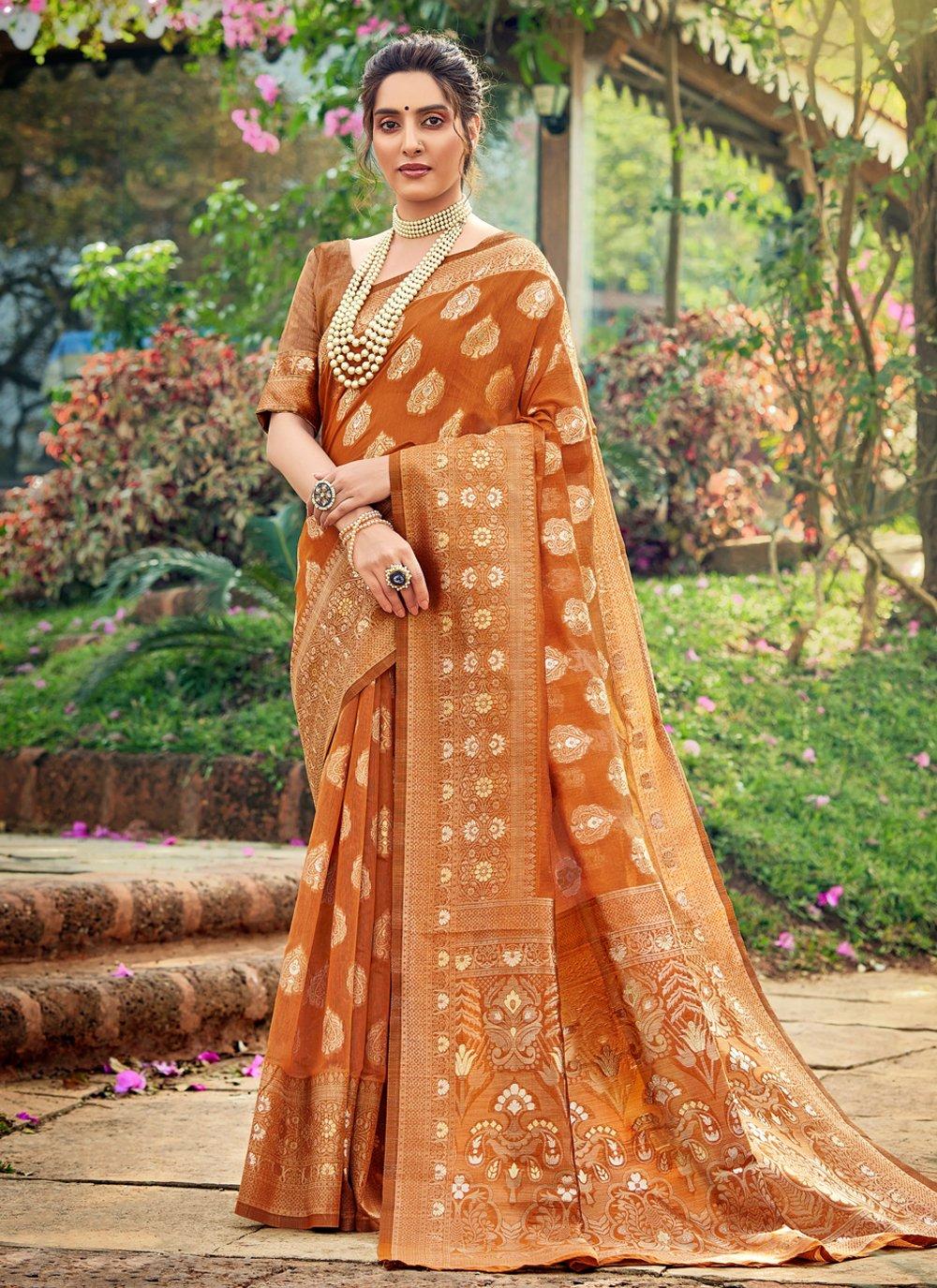 Orange Cotton Silk Festival Traditional Designer Saree