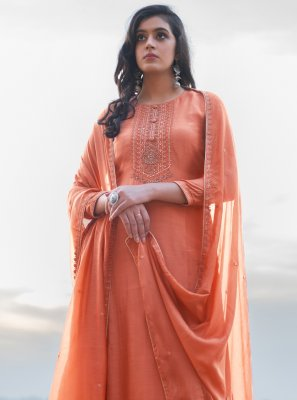 Orange Cotton Silk Pant Style Suit