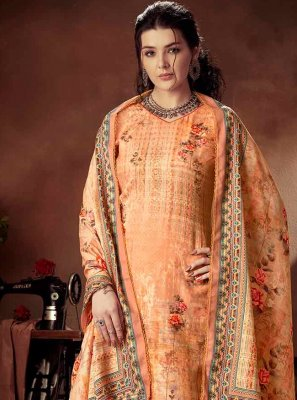 Orange Digital Print Ceremonial Designer Palazzo Suit