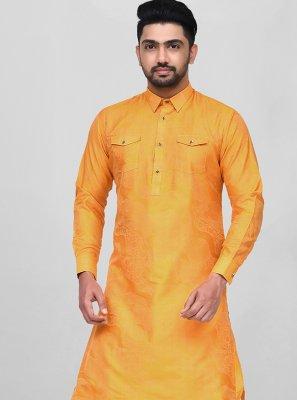 Orange Dupion Silk Dhoti Kurta