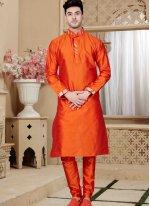 Orange Embroidered Art Dupion Silk Kurta Pyjama