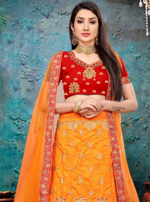Orange Embroidered Art Silk Lehenga Choli