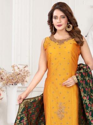 Orange Embroidered Art Silk Readymade Suit