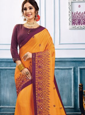 Orange Embroidered Ceremonial Trendy Saree