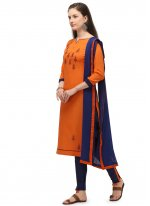 Orange Embroidered Cotton Churidar Suit